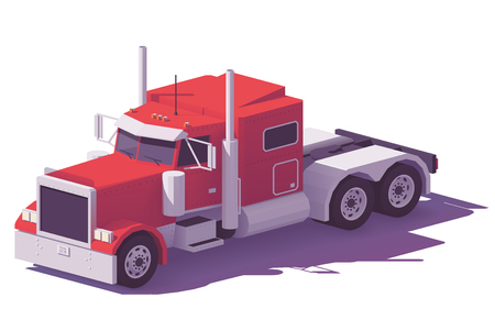 Vector low poly heavy american classic semi truck in red color