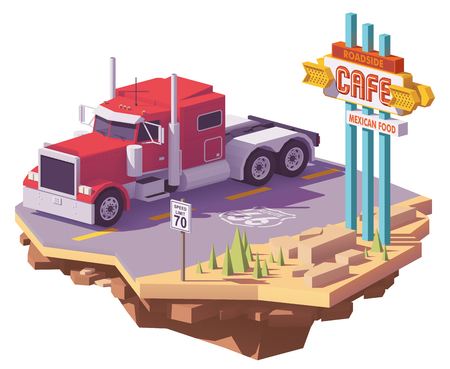 Vector low poly classic american heavy semi truck on the desert highway and vintage neon cafe sign. Illustration