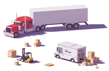 ベクトル低ポリトラックとフォークリフト  イラスト・ベクター素材