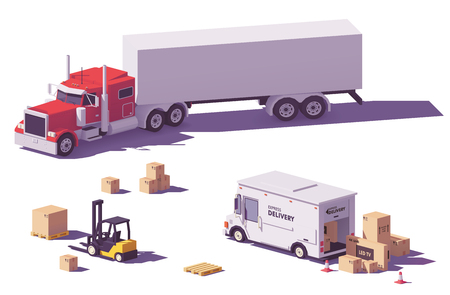 Vector low poly trucks and forklift Illustration