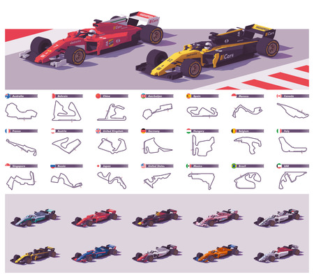 Vector racebanen en auto's Vector Illustratie