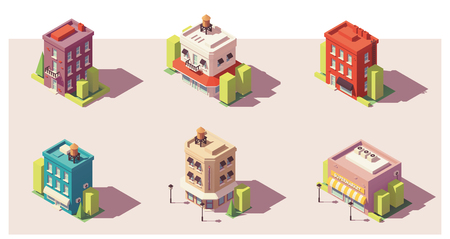 Low poly isometric buildings set vector illustration. Stock fotó - 98113512