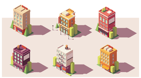 Low poly isometric buildings set vector illustration.