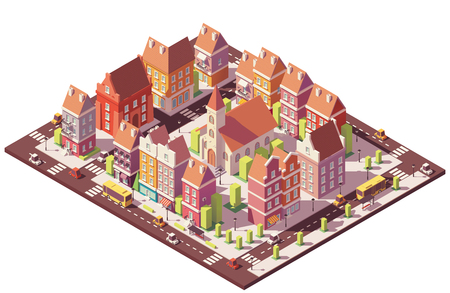Vector low poly isometric old city center, colorful Illustration.