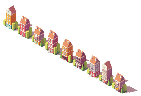 Vector low poly isometric old buildings set Illustration