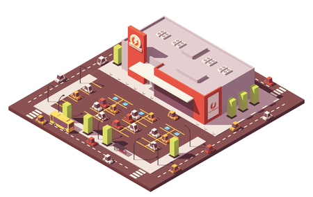Vector isometric low poly supermarket Ilustrace