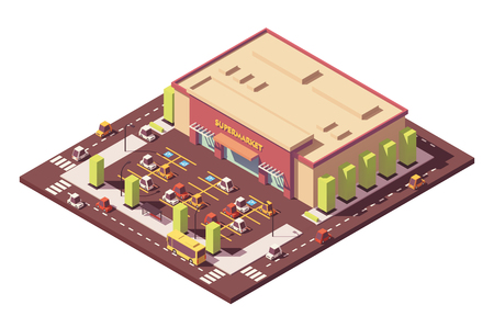 Vector isometric low poly supermarket  イラスト・ベクター素材