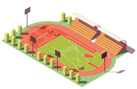 Vector isometric low poly athletics stadium Çizim