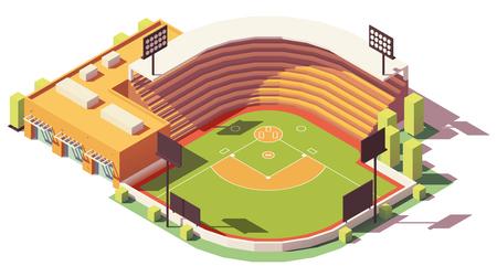 Vector isométrique low poly soccer ou baseball park ou stade
