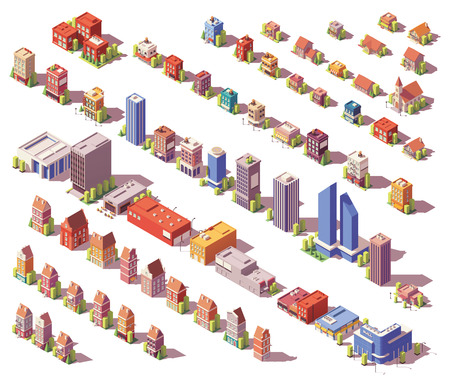 Vector low poly isometric buildings set Imagens - 100202566