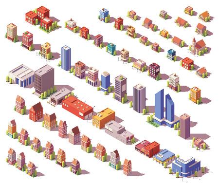 Wektor zestaw budynków izometrycznych low poly