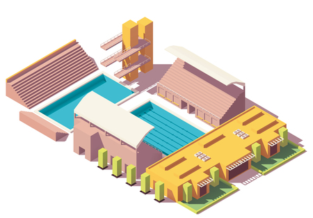 Vector isometric low poly swimming pool