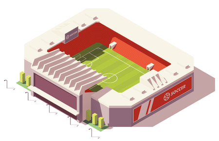 Vector isometric low poly soccer stadium