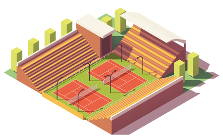 Vector low poly tennis stadium Illustration