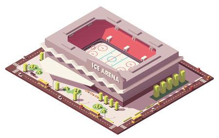 Vector isometric low poly ice hockey rink