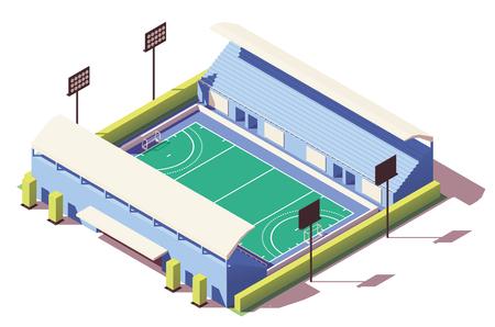 Vector isometric low poly field hockey stadium Ilustração