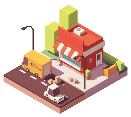 Vector low poly shop icon