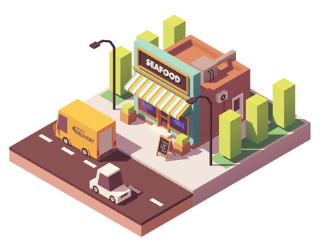 Vector isometric fish and seafood shop