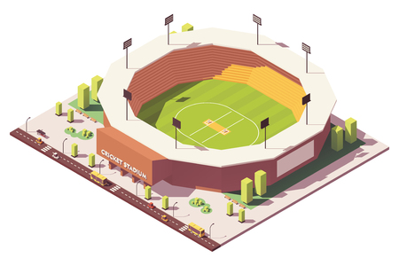 Vector isometric low poly cricket stadium illustration. Stock Illustratie