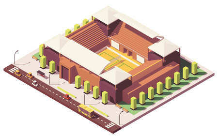 Vector low poly volleyball stadium illustration.
