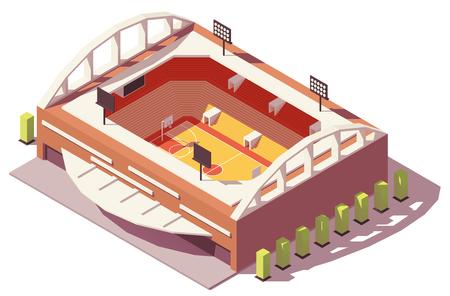 Vector isometric low poly basketball stadium. Standard-Bild - 100975613