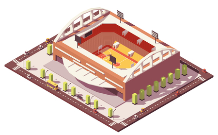 Vector isometric low poly basketball stadium