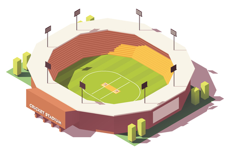 Vector isometric low poly cricket stadium Stock Illustratie