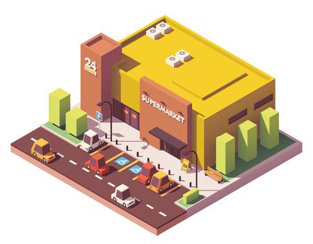 Vector isometric low poly supermarket Stock Illustratie