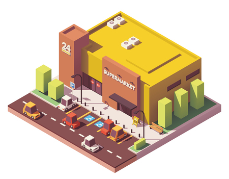Vector isometric low poly supermarket Illustration