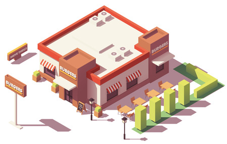 Vector isometric low poly fast food restaurant Ilustrace