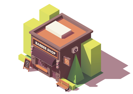 Vector isometric barber shop Stock Illustratie