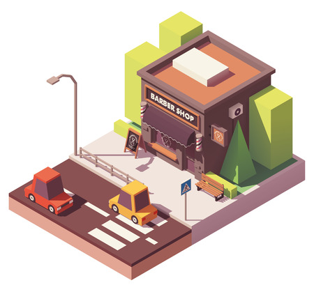 Vector isometric barber shop Illustration