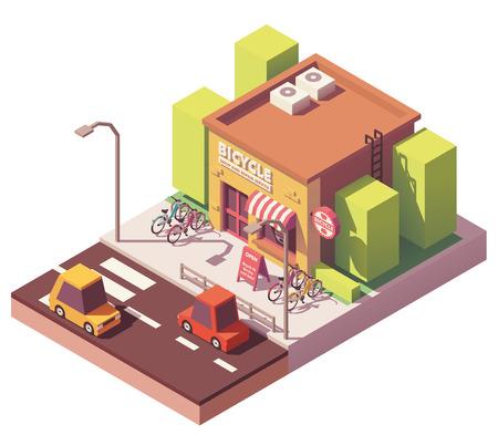 Vector isometrische fietsenwinkel