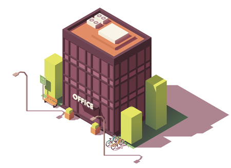 Edificio de oficinas isométrico de vector Ilustración de vector