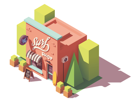 Vector isometric surf shop Stock Illustratie