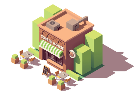 Vector isometric coffee shop