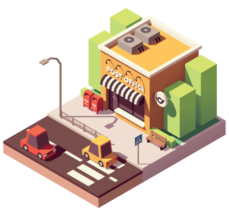 Vector isometric post office Stock Illustratie