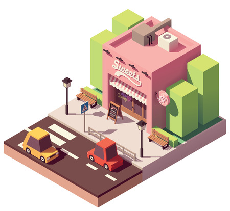 Vector isometric sweets shop