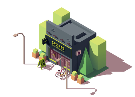 Vector isometric sports and fitness store Illustration
