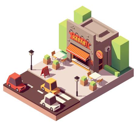 Vector isometric kebab shop