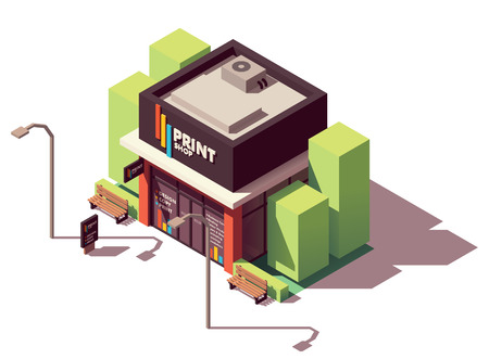 Vector isometric copy and print shop Stock Illustratie