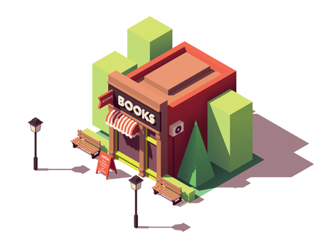 Vector isometric bookshop Stock Illustratie