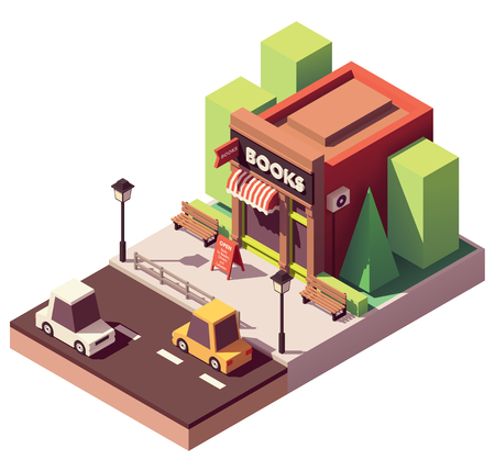 Vector isometric bookshop Illustration