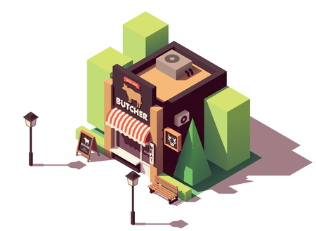 Vector isometric butcher shop
