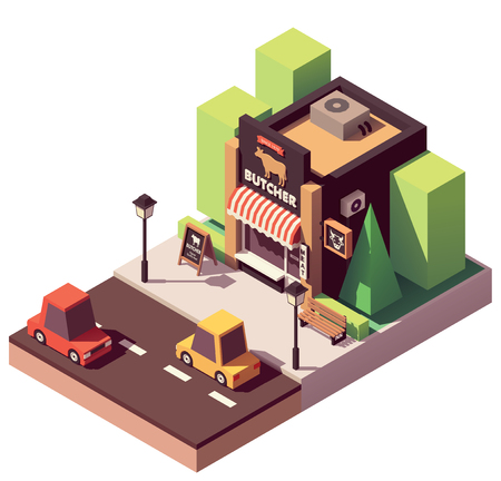 Vector isometric butcher shop Stock Illustratie