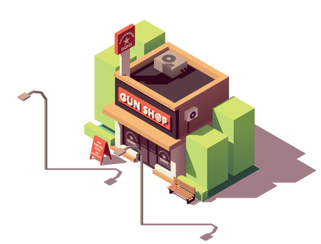 Vector isometric gun shop