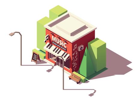 Vector isometric musical instrument store Imagens - 104224445