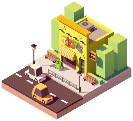 Vector isometrische speelgoedwinkel