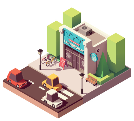 Vector isometric laundromat Stock Illustratie