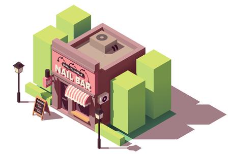 Vector isometric nail bar building Illustration